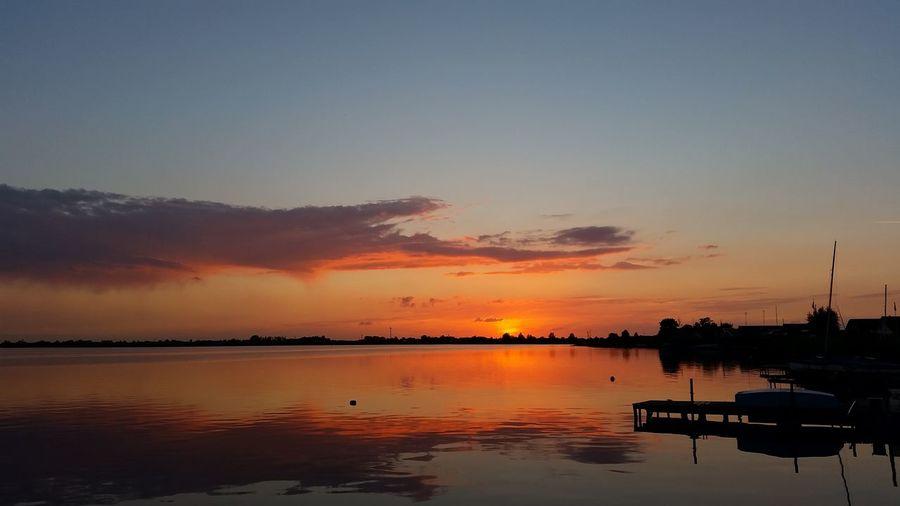 Light And Reflection Water Reflections Sunset Ostfriesland Emden