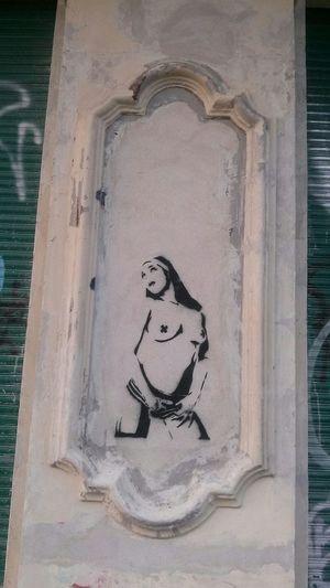 Have a sinful September 👯 Berliner Ansichten Lookingup Walking Around The City  Streetart From My Point Of View Tadaa Community Portrait Of A Woman Berlin Streetart Sin  Nuns
