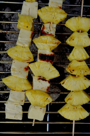 Close-up of yellow leaves on barbecue grill