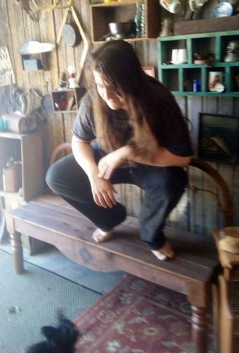One Person Sitting Long Hair Dont Care Killer Dog Bench Teen Fun Lifestyles