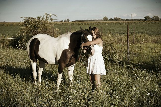Domestic Animals Grass Animal Themes Field Standing Mammal Landscape Livestock Full Length One Animal Grassy Togetherness Holding Young Adult Outdoors Cowgirl Love Cowgirl Dreaming Cowgirl Up Cowgirl Cowgirls (: ❤️ Cowgirl Boots Young Women Farm Farm Animal