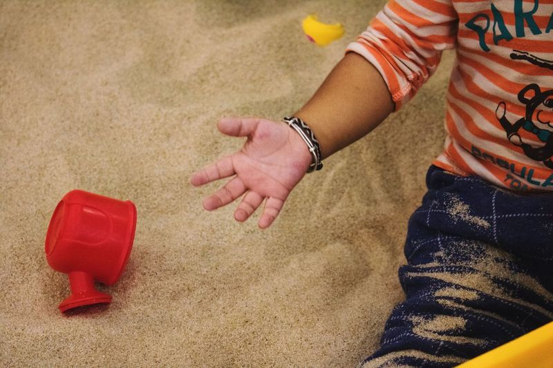 hands on Children's Body Children's Hands Children Playing Land Beach Sand Real People High Angle View Women Human Body Part Lifestyles