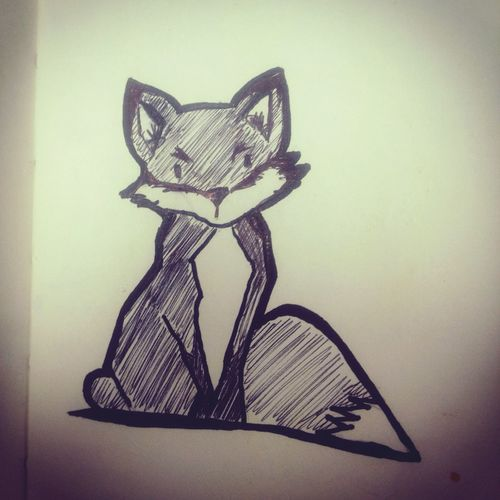 Raposinha ... MyNewTattoo Raposa Fox🐺 Fox Drawing ✏ Desenho Drawing White Background