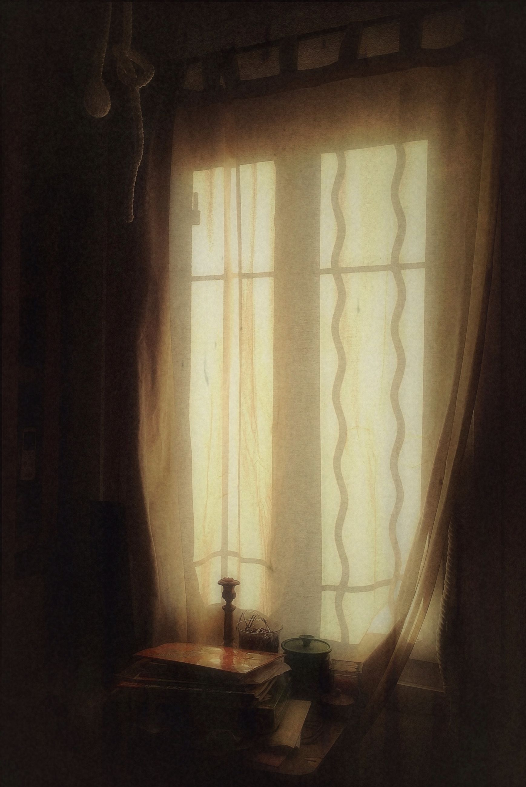 indoors, home interior, window, curtain, domestic room, dark, wall - building feature, shadow, glass - material, room, darkroom, domestic life, transparent, sunlight, house, door, wall, home
