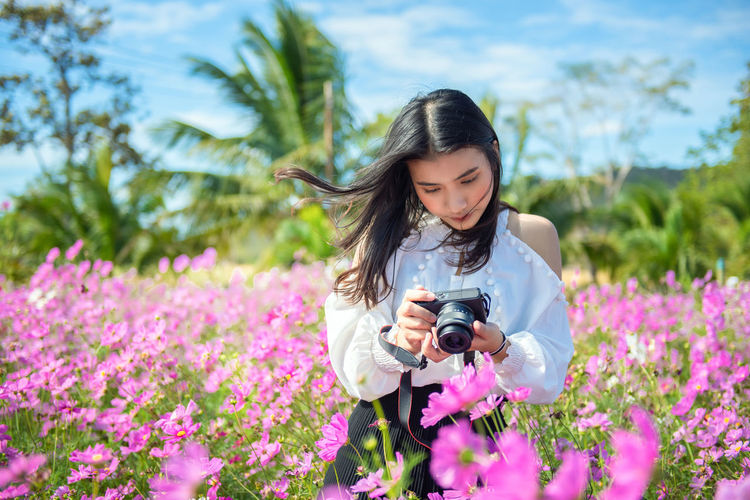 Woman Camera Take A Photo Beautiful Beauty Camera Colorful Cosmos Digital Female Field Flower Fresh Fun Garden Green Hands Lifestyle Light Nature Outdoor People person Photo Photographer Photography Picture Relax Summer Take Taking  Technology Tourism Tourist Travel Smile Garden Park Relax Relaxation