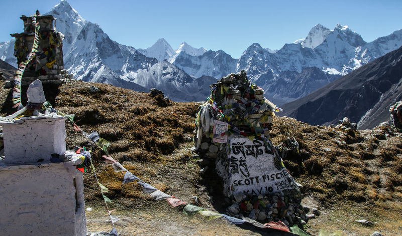 Ama Dablam Climber Himalayas Khumbu Himalaya Memorial Missing Mount Everest Nepal Rob Hall Scott Fisher Altitude Beauty In Nature Clear Sky Cold Temperature Day Mountain Mountain Range Nature No People Outdoors Prayer Flags  Sky Snow Text Tribute Go Higher The Great Outdoors - 2018 EyeEm Awards The Traveler - 2018 EyeEm Awards