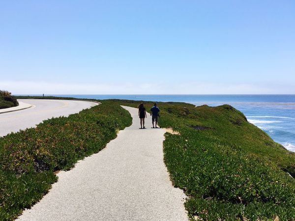 Path West Cliff Drive Santa Cruz California Ocean Walking Partners Man Woman Exercise Showcase June On The Way Adventure