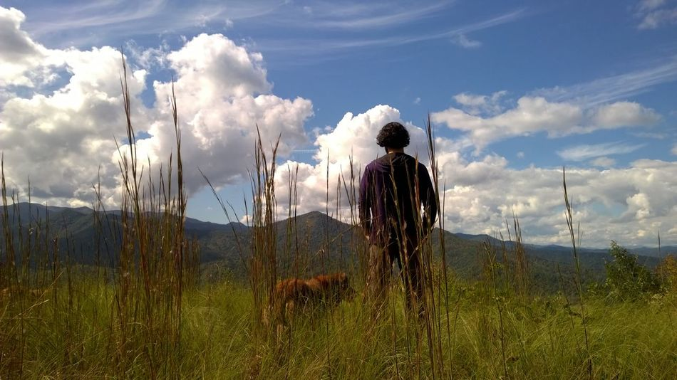 Just a picture of my brother and my dog. Adult Adults Only Beauty Beauty In Nature CliquePlay Cloud Cloud - Sky Day Dog Friday Garden Landscape Majestic Misleading Mountains Nature One Person Outdoors People Selfie Sky Standing Stuff Taking Photos WOW