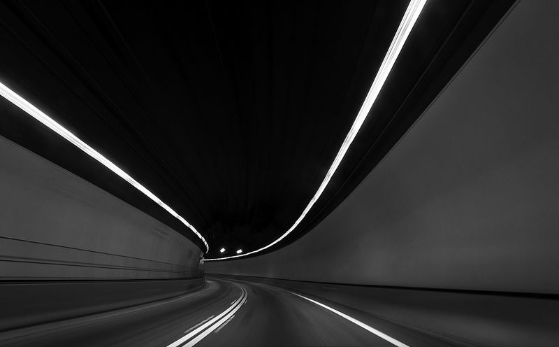 Driving Lights Motion Blur Speedway Architecture Curve Direction Dividing Line Highway Illuminated Light At The End Of The Tunnel Motion Motion Capture Motion Photography Multiple Lane Highway Road Sign Speed Transportation Tunnel