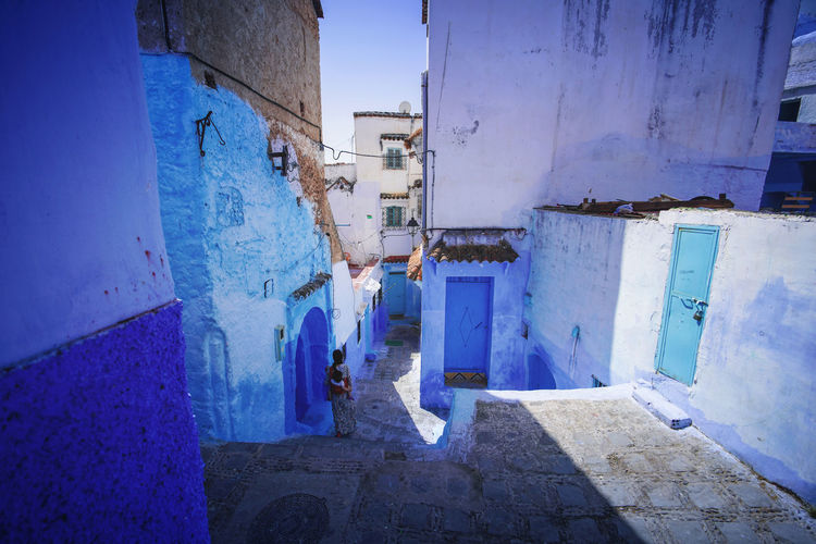 """The Blue City"" - Chefchaouen, Morocco. Chefchaouen Chefchaouen Medina Medina Morocco MoroccoTrip EyeEmNewHere a new beginning Digital Nomad Travel Travel Destinations Traveling Travel Photography Photography Blue City Alley Maze Arabic Moroccans Tourism Tourist Attraction  Tourist Destination Architecture Built Structure Building Exterior Building Day No People Outdoors House Residential District Damaged Wall - Building Feature Nature Abandoned Wall Old Door"