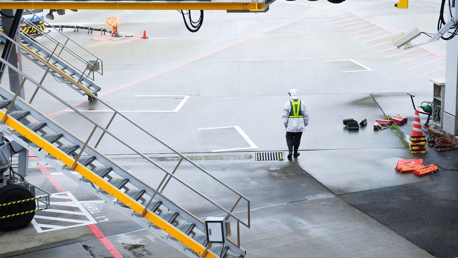 Man working at airport runway