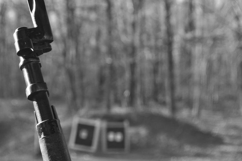 Mosin Nagant Rifle Gun with Bayonet Attached at a Shooting Range Gun Nugget Target Wood Ammo Ammunition Bayonet Bullet Bullets Distance Equipment Hunting Measure Military Mosin Mosin Nagant Range Rangefinder Rifle Shooting Sight Sport Sword War Weapon