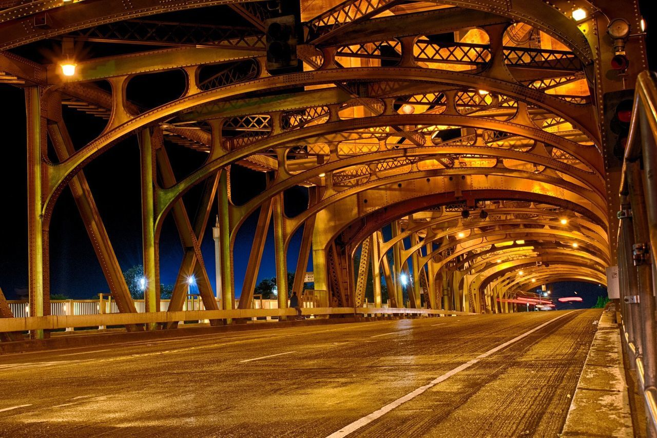 bridge - man made structure, transportation, architecture, night, built structure, illuminated, connection, speed, travel destinations, city, road, outdoors, no people, nature