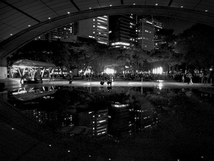 Black White Black And White Nightphotography Night Buildings Mirrored Night Lights Nightlife Urban Geometry City City Life Architecture HuaweiP9 P9leica P9photography Leicacamera P9 Enjoy The New Normal Eyeem Philippines