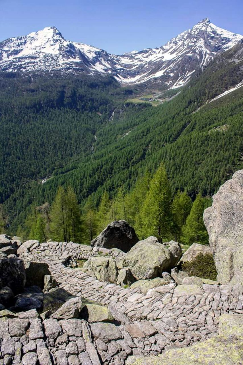 mountain, mountain range, nature, beauty in nature, scenics, day, tranquil scene, tranquility, outdoors, rock - object, tree, no people, landscape, snowcapped mountain, snow, sky