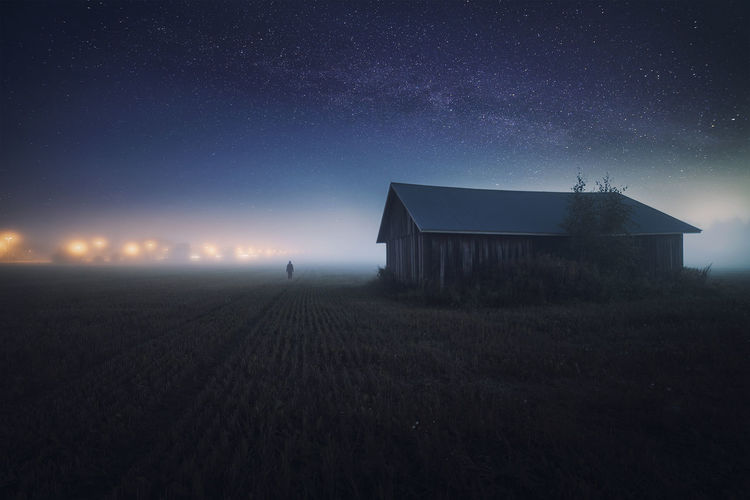 Barn Field Finland Galaxy Landscape Light Man Man Made Object Milky Way Nature Night Nightphotography Outdoors Sky Space Star - Space Stars Street