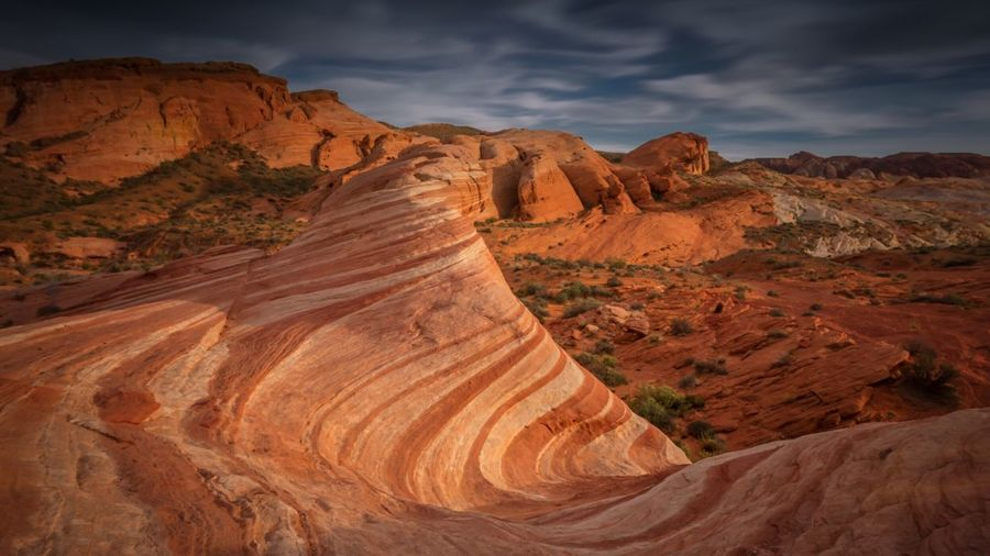 Scenic View Of Valley Of Fire State Park At Dusk