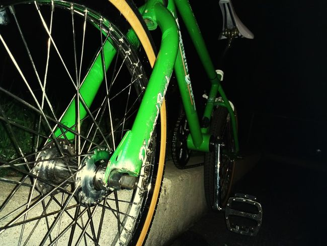 Bicycle Transportation Mode Of Transport No People Land Vehicle Wheel Green Color Night Stationary Pedal Tire Black Background Outdoors Close-up d Diamondback Bmx  Chrome