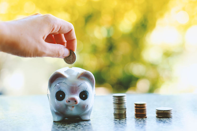 Cropped Hand Putting Coin On Piggy Bank On Table