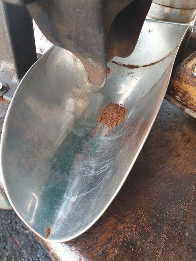 High angle view of old metal on table