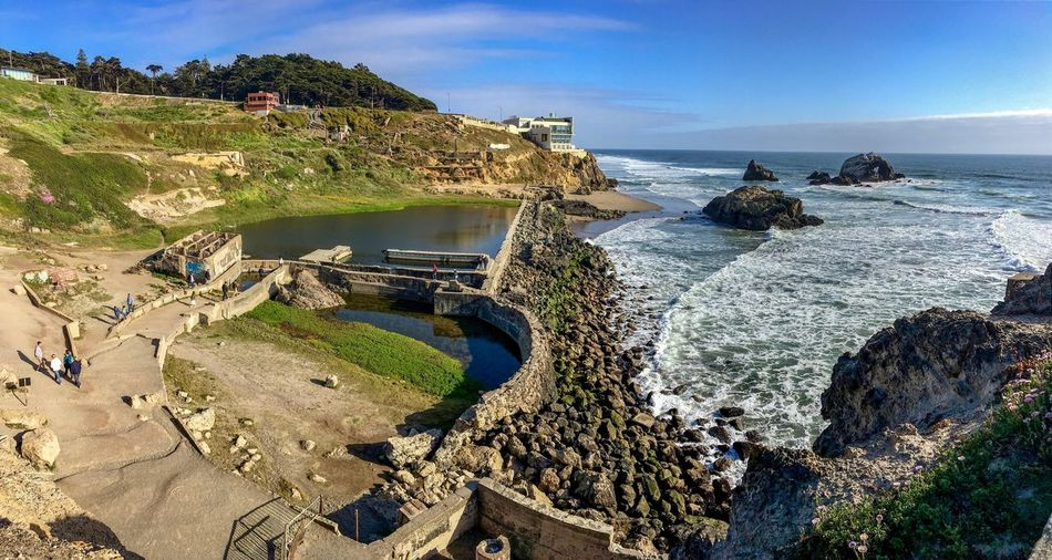 View at the remnants of Sutro Baths Grass San Francisco Historic Site Pacific Ocean Old Walls Water Sea Beach Land Sky Beauty In Nature Scenics - Nature Horizon Over Water Tranquility Nature Rock Day Rock - Object Outdoors Sand Plant
