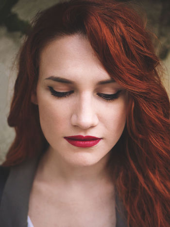 Beautiful Green Love Makeup Portrait Of A Woman Red Soft Woman Young Beautiful Woman Beauty Close-up Day Daylight Front View Makeupartist One Person Portrait Real People Red Redhead Softness Woman Portrait Young Adult Young Women