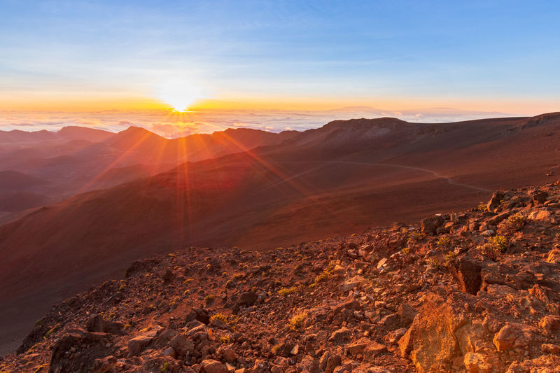 Scenic view of haleakala crater national park, maui, hawaii, usa at sunrise against sky