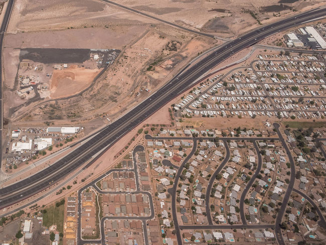 Bisection Bisection Desert Leading Lines Aerial View City Day High Angle View Landscape Outdoors Road Transportation Urban Urban Sprawl