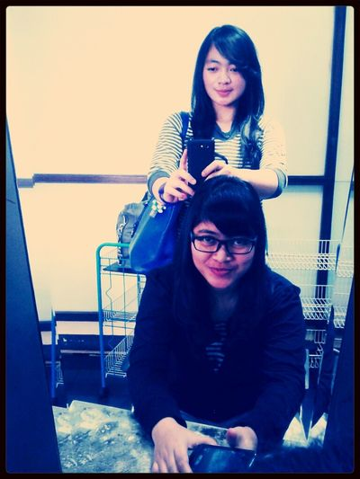 after having a haircut and creambath, with my sista (sitdown) Beautiful INDONESIA Girl Asian Girl