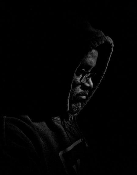 Black & White Black And White Black Background Blackandwhite Blackandwhite Photography Casual Clothing Close-up Dark Darkroom Focus On Foreground Hood Portrait Studio Shot