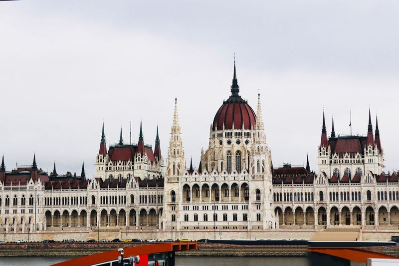 Hungarian Parliament asSeen from the Danube River Architecture Building Exterior Built Structure Sky Building Travel Travel Destinations City Nature Tourism Day Water No People Dome Copy Space Tower Outdoors Government Spire