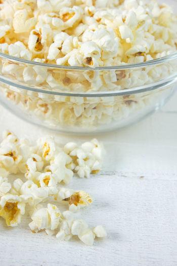 Close-up of popcorn on bowl