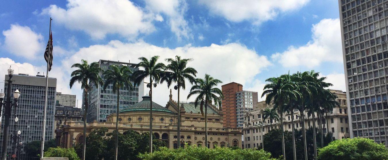 Flag Saopaulo Sao Paulo - Brazil Teatromunicipal Teatro Anhangabau Viadutodocha Valedoanhangabau Centro