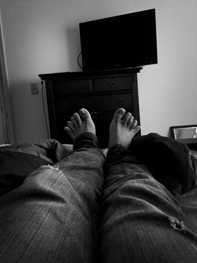 Laying in bed and being lazy. Relaxing Lazy Feet Enjoying Life Blackandwhite