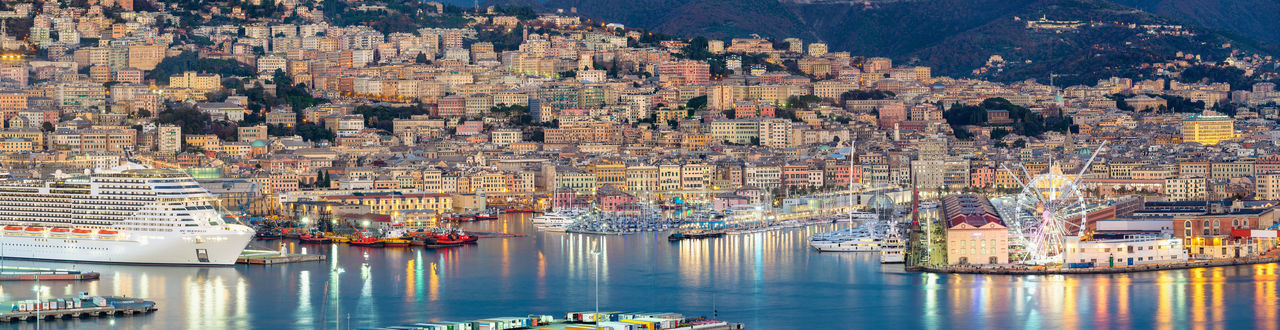 Panoramic view of Genova harbour Water Transportation Nautical Vessel Architecture Built Structure Mode Of Transportation Travel Destinations Building Exterior Harbor Travel Nature Moored Reflection High Angle View Cityscape Sailboat Sea Liguria Italy Genova Italia Genoa Harbor Tourism
