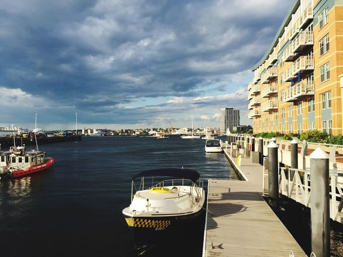 Cityscape Water Day City Cloud - Sky Building Exterior Sky No People Nautical Vessel Nature Boats Sea Harbor Outdoors Boston