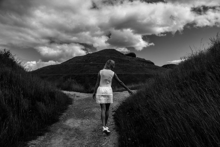 B&w B&w Photo B&w Photography Beauty In Nature Casual Clothing Cloud - Sky Cloudy Day Full Length Grass Landscape Leisure Activity Mountain Nature Non-urban Scene Nothumberlandia Outdoors Rear View Sky Tranquil Scene Tranquility