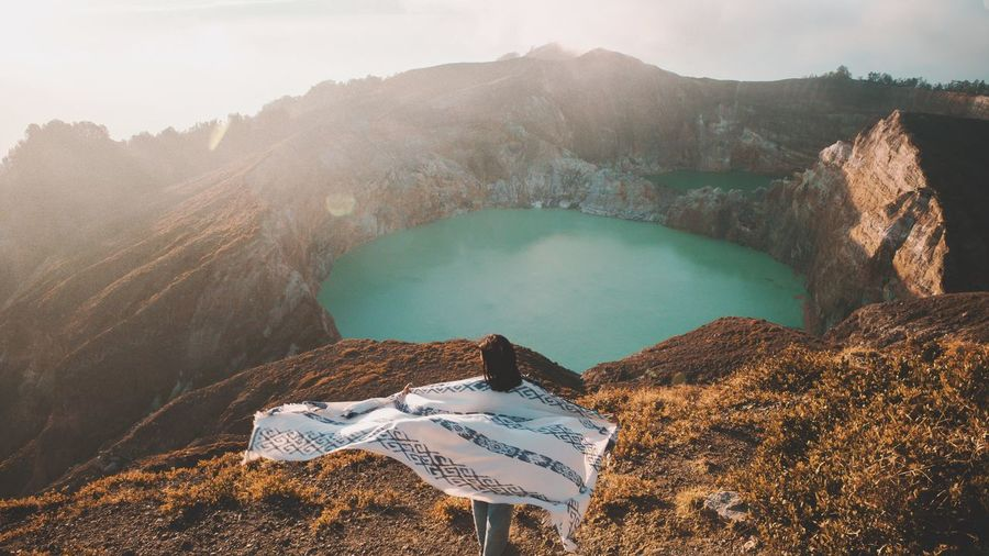 Sunrise in Kelimutu Hiking INDONESIA Kelimutu Mountain Water Beauty In Nature Scenics - Nature Nature Land Day Outdoors Travel Destinations Sky Volcanic Crater