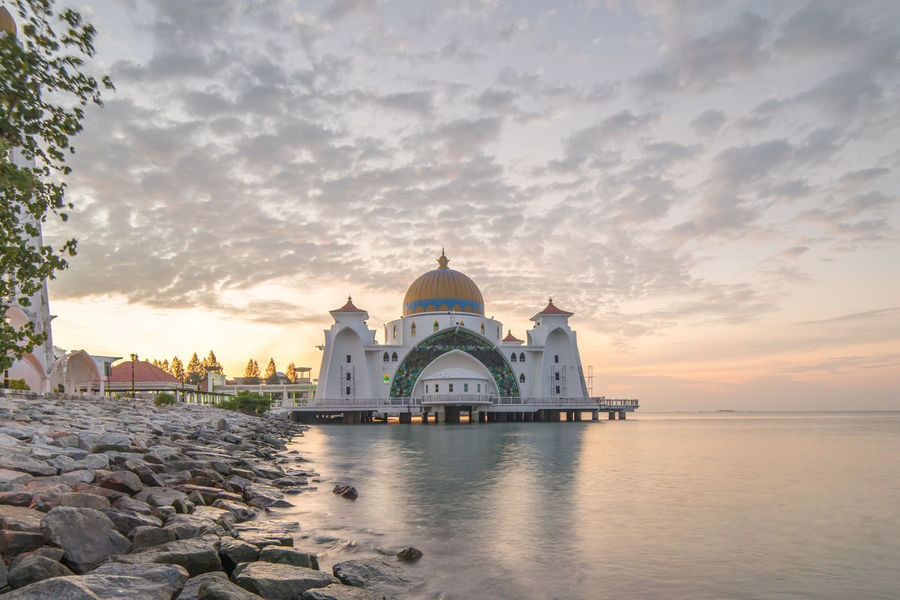 Malacca Straits Floating Mosque / Masjid Selat Melaka at sunrise Beauty In Nature Cloud Cloud - Sky Cloudy Dawn Eid Eid Mubarak Idyllic Mosque Muslim Nature No People Outdoors Ramadan  Ramadhan Scenics Sky Tranquil Scene Tranquility Travel Destinations Water Worship