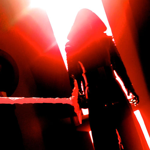 Darth Vader in silhouette with sword and red light behind and severe flare in top left hand corner Agressive Darth Vadar Toy Darth Vader Darthvader Flare Red Red Light Silhouette Square Sword Star Wars