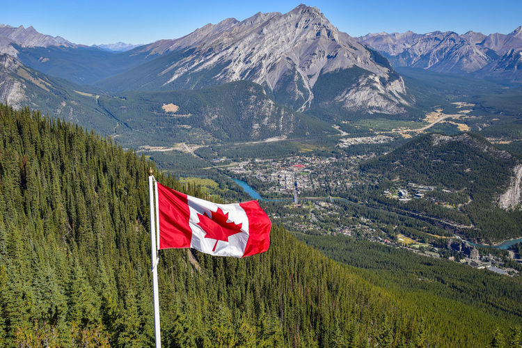 Red flag on landscape against mountains