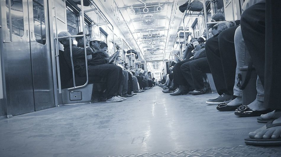 Late Night Train | Traveling Commuter Train Mass Transit Railway  City At Night Black And White Monochrome Bnw Tired Afterwork Sleepy Sleeping Snapshot My Commute-2016 EyeEm Photography Awards The Photojournalist - 2016 EyeEm Awards