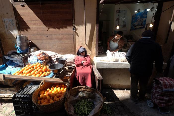 Fes Food Freshness Market Market Stall Morocco Outdoors Seller Street Suq