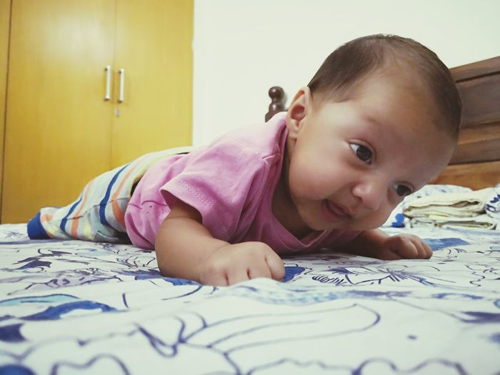 first attempts EyeEm Selects Child Bedroom Childhood Portrait Bed Lying Down Headshot Close-up Lying On Front Preschooler Leaning On Elbows Innocence Babyhood One Baby Boy Only Lying