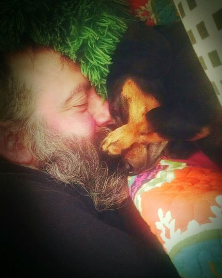 Togetherness Indoors  Close-up Domestic Animals Doxie Moxie One Dog One Person Daddy's Girl Lowkeyphotography Sleepy Little Town Easyliving Warming The Heart~ Smile ✌ Warming The Soul Colour Of Life My Loves❤ Sleep Time So Bonded Pet Photography  My Favorite Picture  DogLove