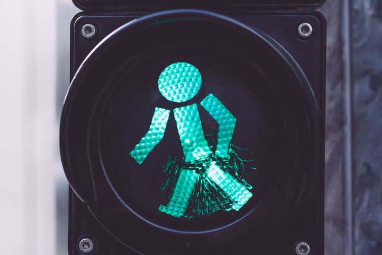 Front view of pedestrian crossing sign