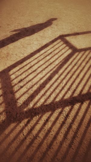 The Loneliness of the Goalkeeper Soccer Sandplatz Fussball Schattenspiel  Schatten Schattenbild Schattenriß Schatten Fotografie Shadow Shadows & Lights Ground Soccer Game Soccer Goal Pattern Patterns & Textures Schattenspiele Muddy Minimalism
