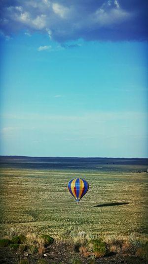 On A Hike Hot Air Balloons Volcanic Rock New Mexico, USA Hot Air Balloon Landing