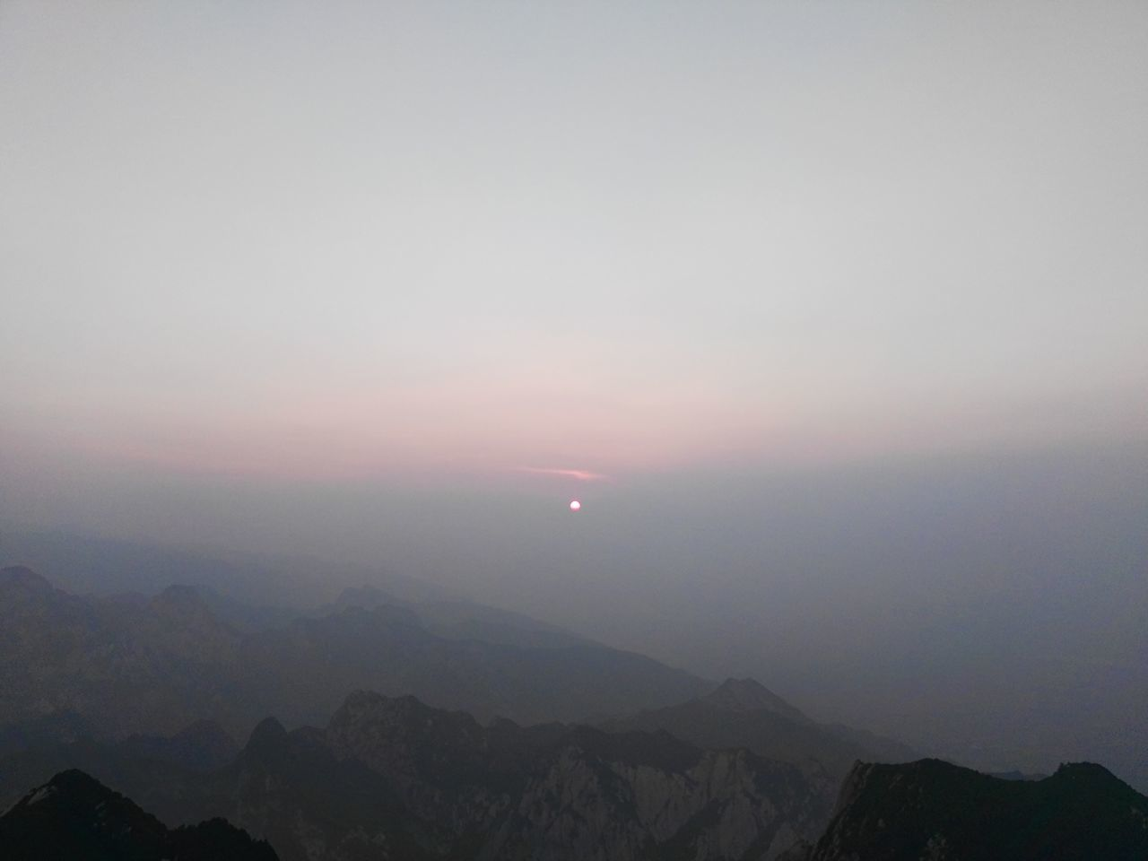 sunset, beauty in nature, nature, tranquil scene, scenics, tranquility, mountain, sun, sky, moon, outdoors, idyllic, no people, mountain range, landscape, crescent, astronomy, day
