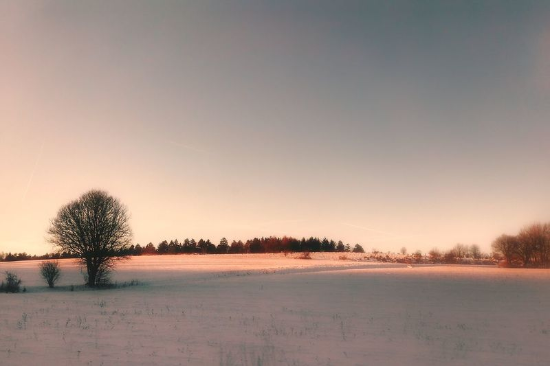 Scenic view of snow field against clear sky during winter